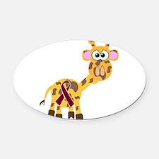 burg ribbon giraffe copy.png Oval Car Magnet