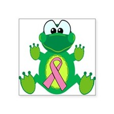 "pink ribbon froggy.png Square Sticker 3"" x 3"""