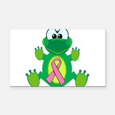 pink ribbon froggy.png Rectangle Car Magnet
