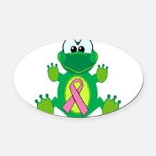 pink ribbon froggy.png Oval Car Magnet
