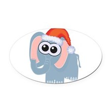 elephant santa.png Oval Car Magnet