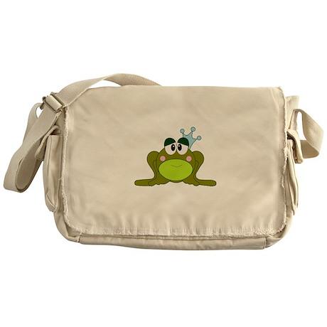 Frog Prince Blue Crown Messenger Bag