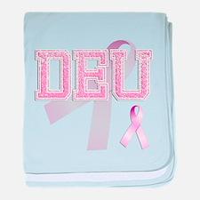 DEU initials, Pink Ribbon, baby blanket