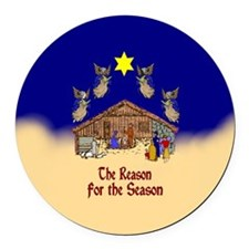 Square or Round Reason for the Season Round Car Ma