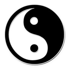Black Yin Yang Round Car Magnet