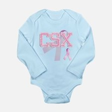 CSX initials, Pink Ribbon, Long Sleeve Infant Body