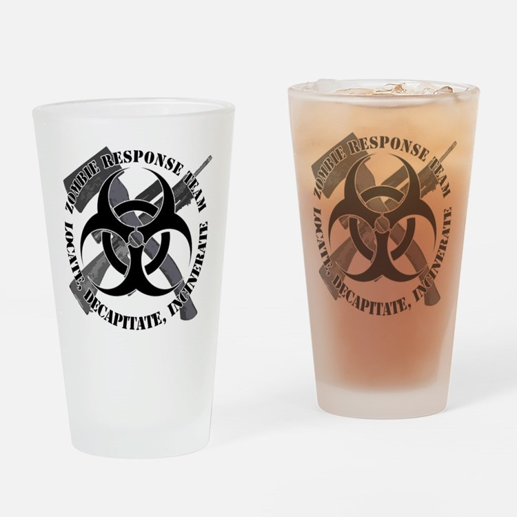 Zombie Response Team White Border Drinking Glass