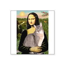 Mona & her Blue Abbyssinian Square Sticker 3&q