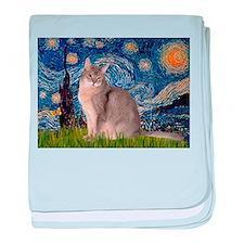 Starry / Blue Abbysinian cat baby blanket
