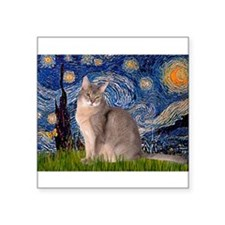 Starry / Blue Abbysinian cat Square Sticker 3&quot