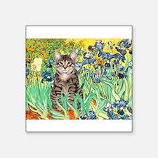 "Irises / Tiger Cat Square Sticker 3"" x 3"""