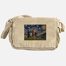 Starry Night / Tiger Cat Messenger Bag
