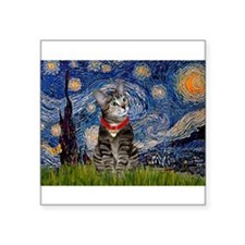 "Starry Night / Tiger Cat Square Sticker 3"" x 3"""