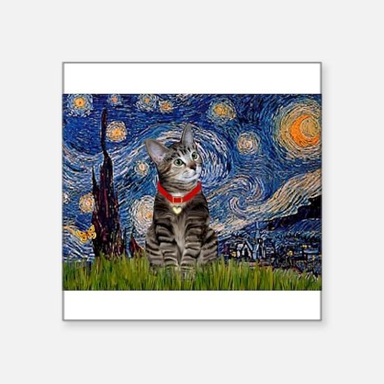 "Starry Night / Tiger Cat Square Sticker 3"" x 3"""
