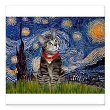 """Starry Night / Tiger Cat Square Car Magnet 3"""" x 3"""""""
