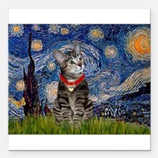 "Starry Night / Tiger Cat Square Car Magnet 3"" x 3"""