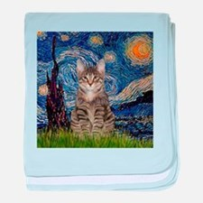 Starry Night & Tiger Cat baby blanket