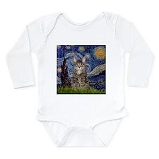 Starry Night & Tiger Cat Long Sleeve Infant Bodysu