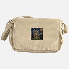 Starry Night & Tiger Cat Messenger Bag