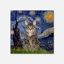 "Starry Night & Tiger Cat Square Sticker 3"" x 3"""