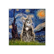 "Starry / Tiger Cat Square Sticker 3"" x 3"""
