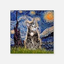 "Starry / Tiger Cat Square Sticker 3"" x 3"""