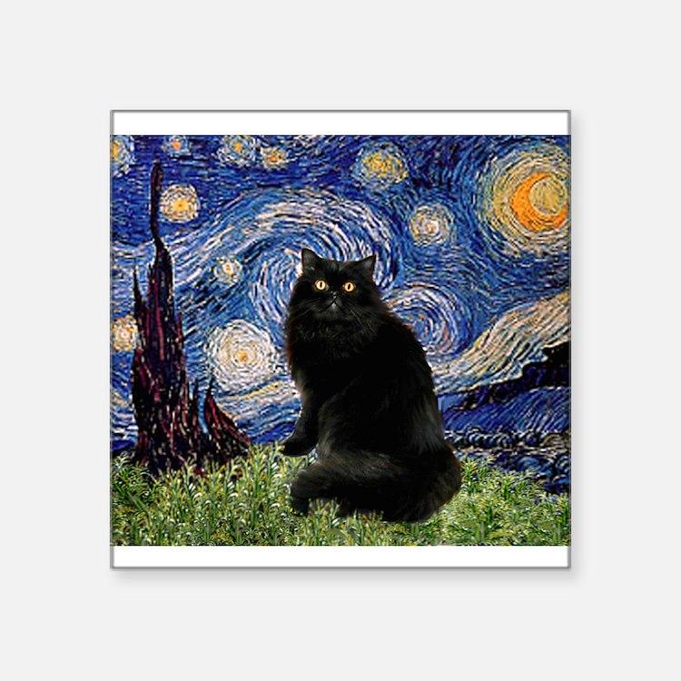 "Starry Night /Persian (bl) Square Sticker 3"""