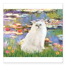 Monet's Lilies & White Persia Square Car Magne