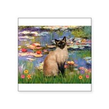 "MP-Lilies2-Siamese1.png Square Sticker 3"" x 3"""