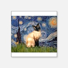 "TILE-Starry-Siamese1.png Square Sticker 3"" x 3"""