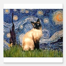 """TILE-Starry-Siamese1.png Square Car Magnet 3"""" x 3"""""""