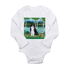 Birches / (B&W) Cat Long Sleeve Infant Bodysuit