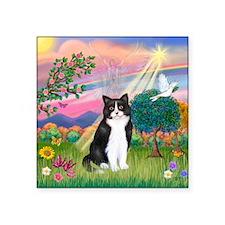 """Angel (B&W) Cat Square Sticker 3"""" x 3"""""""