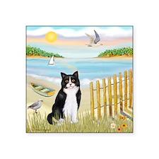 "Rowboat / (B&W) Cat Square Sticker 3"" x 3"""