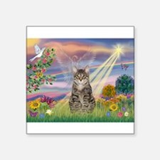 """Cloud Star / Tiger Cat Square Sticker 3"""" x 3"""""""