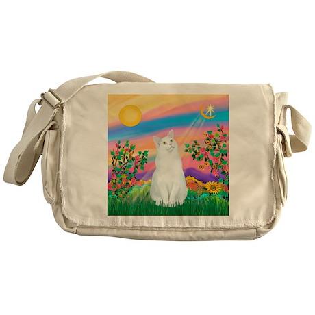 Day Star / (White) Cat Messenger Bag