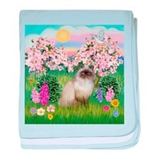 Blossoms & Himalayan cat baby blanket