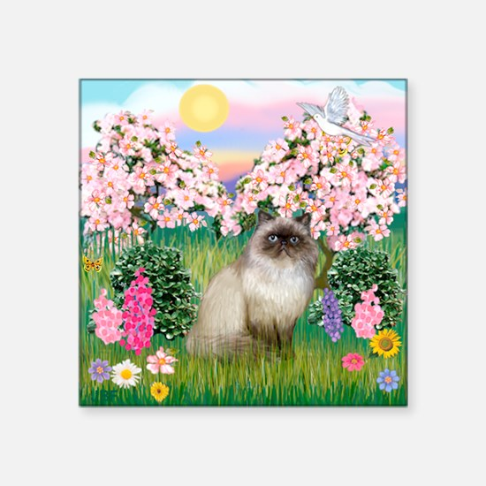 "Blossoms & Himalayan cat Square Sticker 3"" x 3"""
