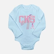 CKS initials, Pink Ribbon, Long Sleeve Infant Body