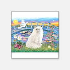 "Lilies & White Persian Square Sticker 3"" x 3"""