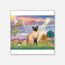 "Cloud Angel & Siamese Square Sticker 3"" x 3"""