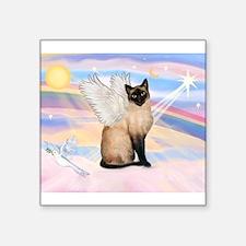 "Siamese Cat Angel Square Sticker 3"" x 3"""