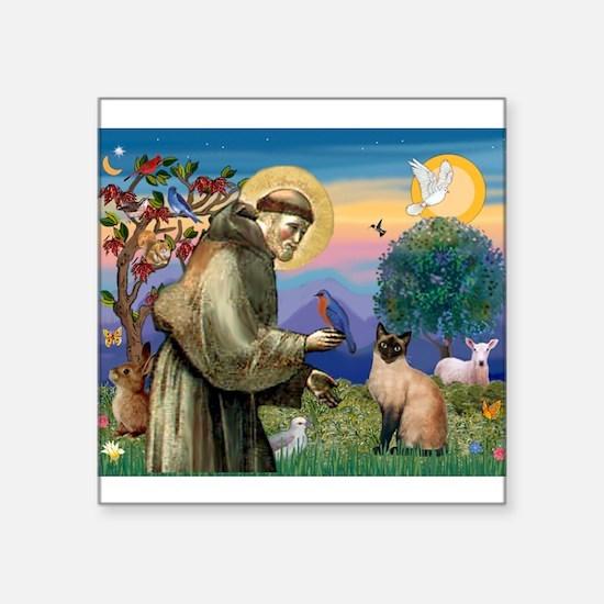 """St Francis / Siamese Square Sticker 3"""" x 3"""""""