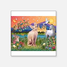 "3-TILE-Fantasy-Sphynx1.png Square Sticker 3"" x 3"""