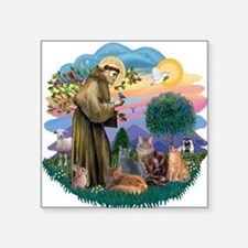 """St Francis / 4 Cats Square Sticker 3"""" x 3"""""""
