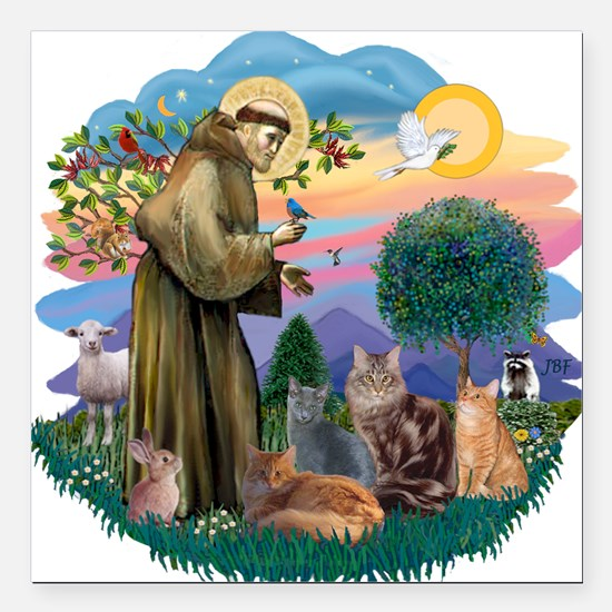 "St Francis / 4 Cats Square Car Magnet 3"" x 3"""
