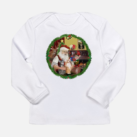 Santa's 2 Tabby Cats Long Sleeve Infant T-Shirt