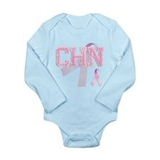 CHN initials, Pink Ribbon, Long Sleeve Infant Body
