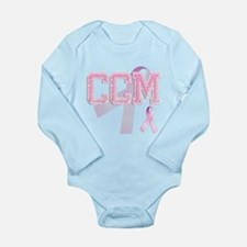 CCM initials, Pink Ribbon, Long Sleeve Infant Body