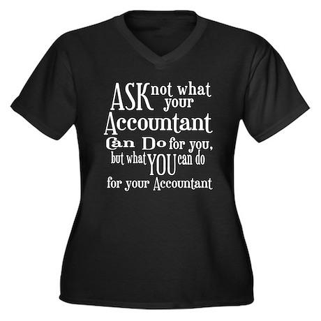 Ask Not Accountant Women's Plus Size V-Neck Dark T